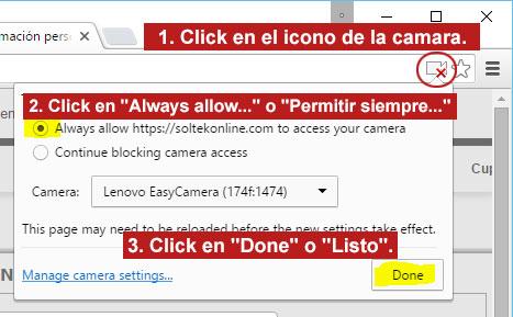 Dar permiso de acceso a tu camara web en tu explorador